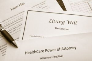 Several estate plan documents including living will and power of attorney.