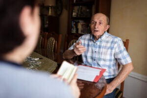 A client talking to his lawyer about his last will and testament in Jacksonville.